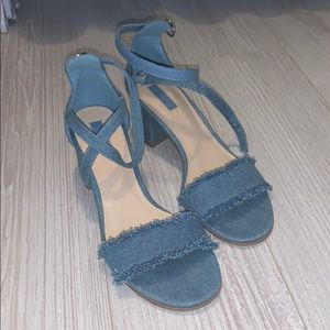 Forever 21 Ankle Wrap jean heels (size 8)